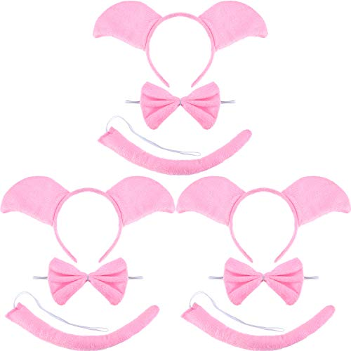 9 Pieces Pink Pig Costume Set Include Ears Headband Pig Bowtie and Pig Long Curled up Tail for Halloween Cosplay Costume or Party Decoration -
