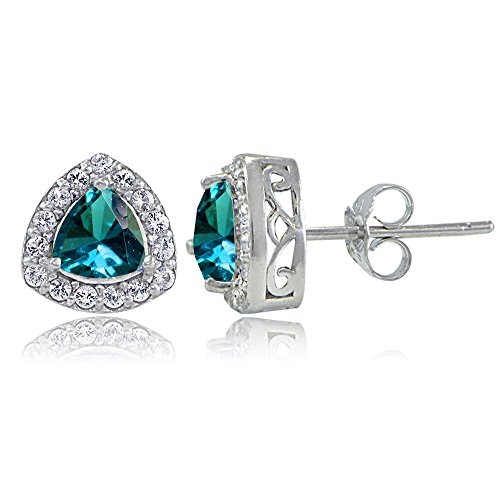 Sterling Silver Genuine London Blue Topaz & White Topaz Trillion-Cut Stud ()