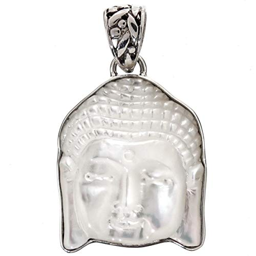 1 3/16'' Mother of Pearl Shell Buddha FACE 925 Sterling Silver Pendant YE-2022