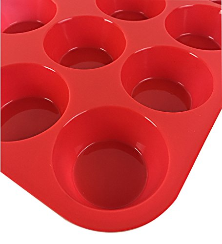 Clearance Sale - Ozera 2 Pack Silicone Muffin Pan / Cupcake Pan Cupcake Mold 12 Cup, Red by Ozera (Image #4)