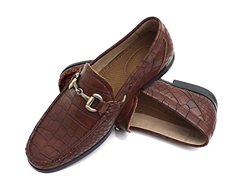 EasyStrider+Men%E2%80%99s+Loafer+Shoes+%E2%80%93+Elegant+Silver+Metal+Buckle+-+Perfect+Business+Dress+Shoe+For+Men+or+Casual+Slip-On+Loafer+For+Daily+Wear+-+KM6011-BR-11