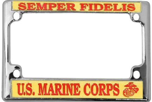 U.S. Marine Corps Semper Fidelis Chrome Metal Motorcycle License Plate Frame - Marines License Plate