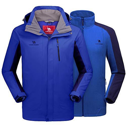 (CAMEL CROWN Men's Ski Jacket 3 in 1 Waterproof Winter Jacket Snow Jacket Windproof Hooded with Inner Warm Fleece Coat Blue)