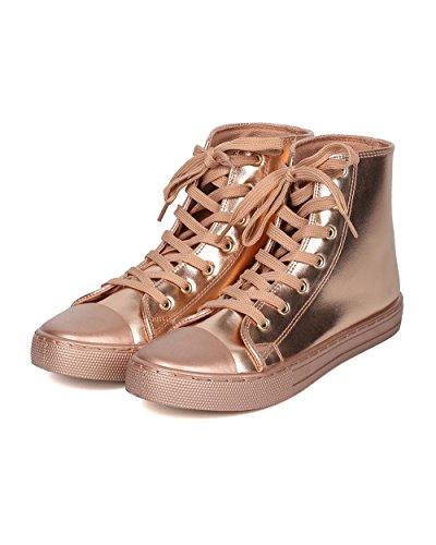 Qupid Mujer Metallic High Top Sneaker - Informal, Escolar, Béisbol - Zapatillas Con Punta En Los Pies Gf24 De Rose Gold