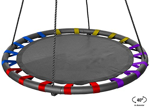 Sorbus Spinner Swing – Kids Indoor/Outdoor Round Mat Swing – Great for Tree, Swing Set, Backyard, Playground, Playroom – Accessories Included (40 Inch, Multi-Color Mat Seat)