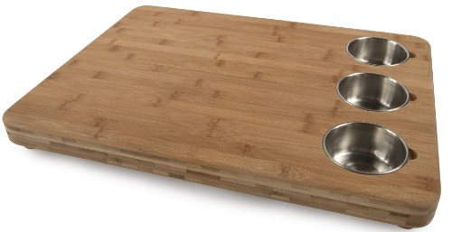 Pro Prep Block - Core Bamboo Pro Chef Butchers Block with Prep Bowls, Natural