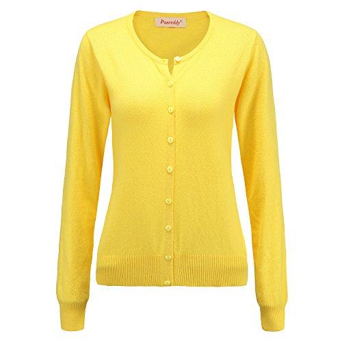 Panreddy Women's Wool Cashmere Classic Cardigan Sweater L Yellow -