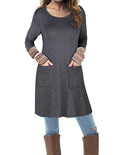 Kilig Women's Round Neck Long Sleeve Boho Patchwork Dress With Pockets(Gray, L)
