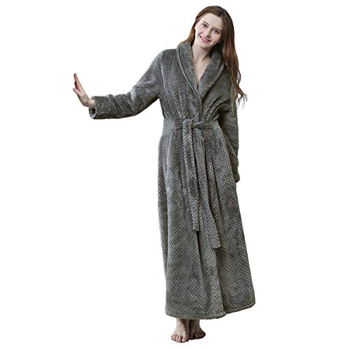 e8f2128ef2 Women Long Fleece Bathrobe Super Plush Shawl Collar Ladies Warm Robe Soft  Sleepwear Shower Nightgown