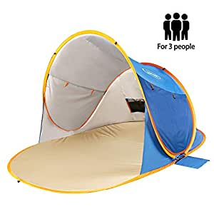 Zomake Pop Up Beach Tent Sun Shelters X Large For 3 4