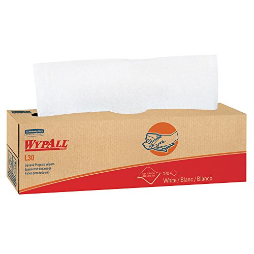 Wypall L30 DRC Wipers (05800), Strong and Soft Wipes, White, 100 Sheets / Pop-Up Box, 8 Boxes / Case, 800 Wipes / Case (Wypall Wipers Professional)