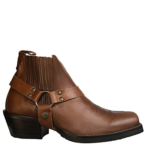 Brunello's Men's Square Toe Western Boot- Low Cut In Florence Brown Caramel by Taben Western Products Inc