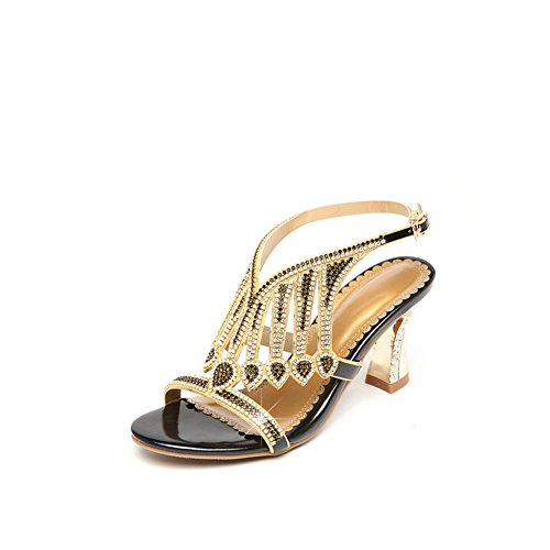 Zapatos de Mujer Sandalias Sexy de Moda Sandalias de Moda de Verano Sandalias Planas de Moda con Sandalias Abiertas en Punta para Bano Morado Sandalias de Oro Negro (Color : Púrpura, tamaño : 38) Negro