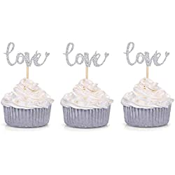24 CT Silver Glitter Love Cupcake Toppers Wedding Bridal Shower Engagement Party Decors