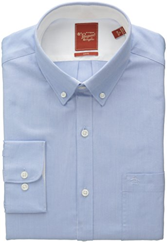 Original Penguin Men's Slim Fit Solid Shirt, Soft Blue, 17.969696969697