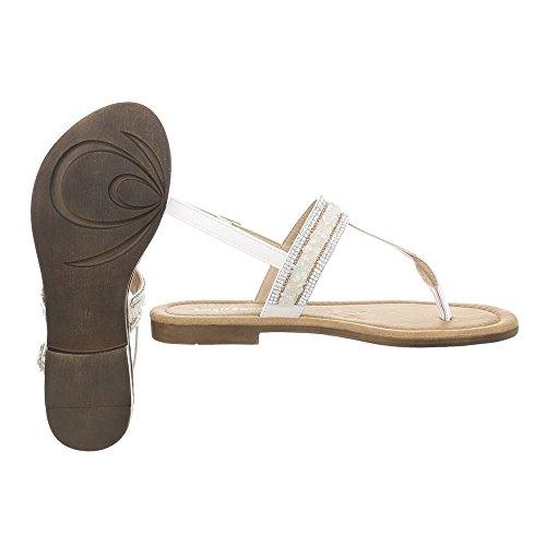 Ital-Design Zapatos Para Mujer Sandalias de Vestir Tacón Ancho Sandalias de Dedo Blanco BM197-2
