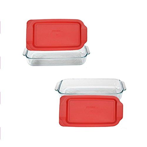 - Pyrex SYNCHKG117579 Basics 3-qt Oblong with Red Cover KC12026, 2PK-3QT