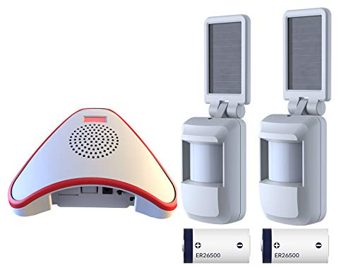 HTZSAFE Solar Wireless Motion Sensor(Not Waterproof)- 5 Years No Need Replace The Battery- Sensor Included 9000mAh Lithium Battery -Home/Business Driveway Security Alarm with 2 Sensors and 1 Receiver by HTZSAFE
