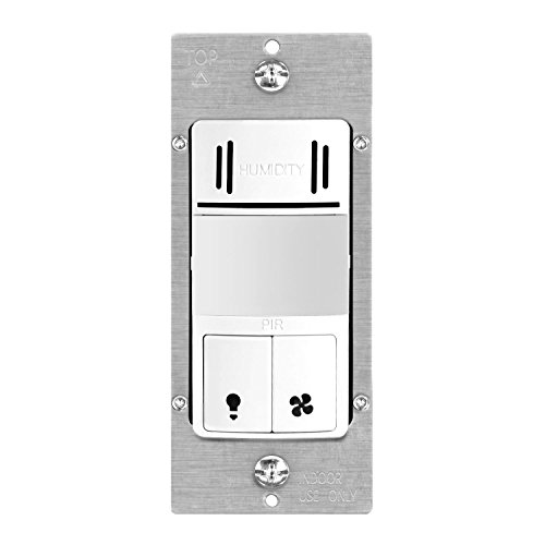 TOPGREENER Dual Tech Humidity Sensor Switch, Infrared PIR Motion & Air Moisture Detection, Bathroom Fan & Light Control, Adjustable Timing, NEUTRAL WIRE REQUIRED, UL Listed, TDHOS5, White
