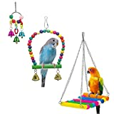 Mrli Pet Parrot Cage Toys, Bird Swing Toys Hanging Play with Bells Wooden Hammock for Budgie Love Birds Cockatiels Conures Finches Small Parakeet Larger Image