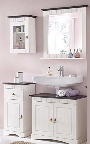clever moebel 4 tlg badmobel set aus kiefernholz weiss braun badschrank badschranke