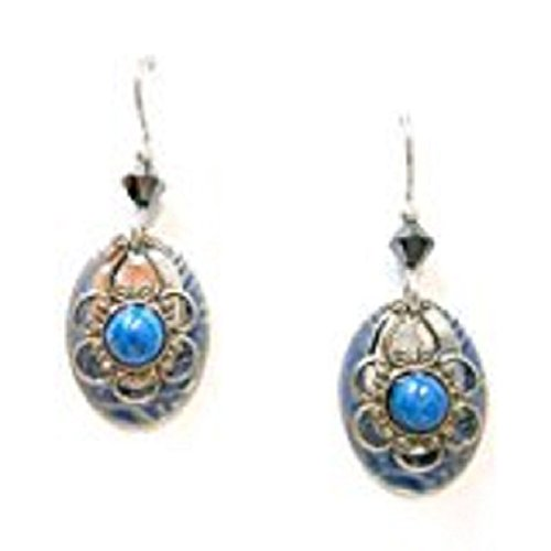 Silver Forest of Vermont Denim Lapis Stone Silver Filigree Dangle ()