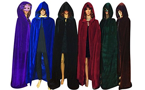 QBSM Halloween Velvet Cloak Witch Costume Hooded Party Raven Cosplay Capes (L ( 59''/150CM ), Red) - Red Velvet Hooded Costumes Cloak