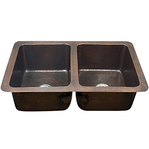 Houzer HW-CHA12 Hammerwerks Series Chalet Chef Undermount Copper 50/50 Double Bowl Kitchen Sink, Antique Copper