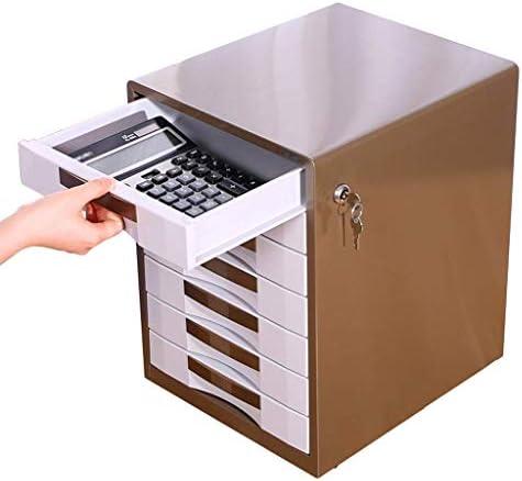 NMBD Bürozubehör Metallgehäuse Siebenstöckiges Büro mit Lock-Schublade A4 Datei-Box Desktop HUYP (Farbe: Blau, Größe: 300mm * 350mm * 410mm) (Color : Gold, Size : 300mm*350mm*410mm)