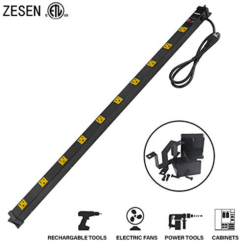 (ZESEN 10 Outlet Heavy Duty Workshop Metal Power Strip Surge Protector with 4ft Heavy Duty Cord, ETL Certified, Black)