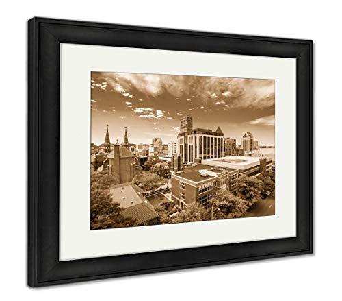 (Ashley Framed Prints Birmingham, Alabama, USA, Wall Art Home Decoration, Sepia, 26x30 (Frame Size), Black Frame, AG32675966)