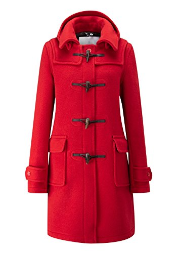Womens London Long Fit Duffle Coat -- Red-20 -