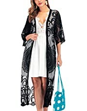 FaroDor Women's Summer Casual Hollow Out Cotton Beach Dress Lace Kimono Cardigan Cover Up