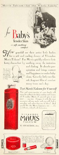 1928 Ad Vivaudou Mavis Talcum Bath Powder Baby Health Beauty Lipstick Rouge - Original Print Ad from PeriodPaper LLC-Collectible Original Print Archive