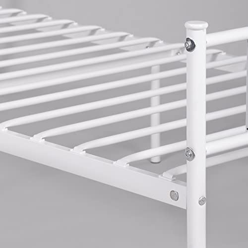 WeeHom Kids Student Single Metal Bed Frame Twin Size with Unique Flower Design Sturdy Metal Frame Premium Steel Slat Support Platform Bed for Guest Room No Boxspring Need White 41qy6JycYLL