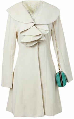 Ruffle Peacoat (Alion Women's Long Sleeve Lapel Ruffles Pea Coat Chic Slim Peacoats White L)