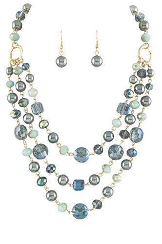 """(Allegro Dark Gray Imitation-Pearl, Transparent Blue Glass & Ombre Blue Bead Layered Bib Necklace & Earrings 18"""")"""