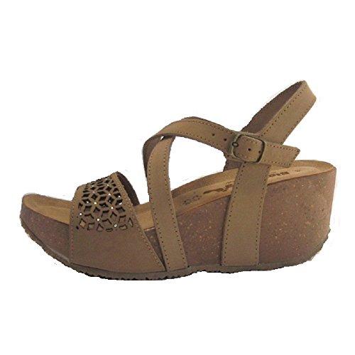 Bionatura - Sandalias de vestir de Piel para mujer 36 Nabuk Tortora