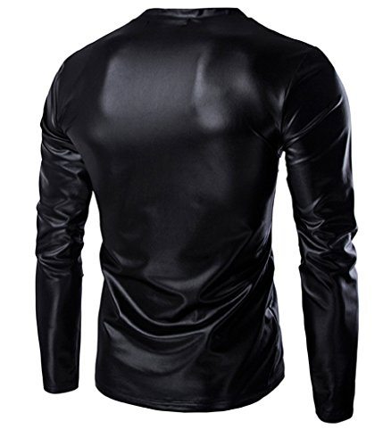 Choose Hombres Trend Metallic Slim Fit cuello en V manga larga camisetas Black