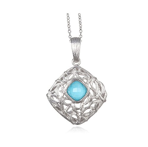 ARIVA'S STERLING SILVER TOURQUOISE & ROCK CRYSTAL QUARTZ DOUBLET ENHANCER PENDANT! by Ariva Fine Jewelry