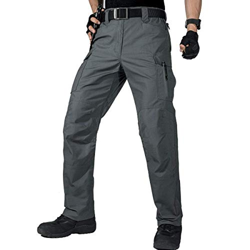 FREE SOLDIER Men's Water Resistant Pants Relaxed Fit Tactical Combat Army Cargo with Multi Pocket (Gray-Upgrade, 32W/30L)