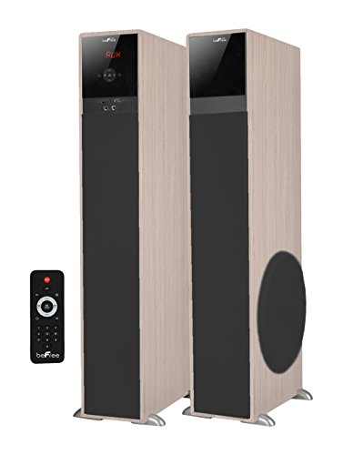 beFree Sound BFS-TP100WD 2.1 Channel Bluetooth Tower Speakers - Wood
