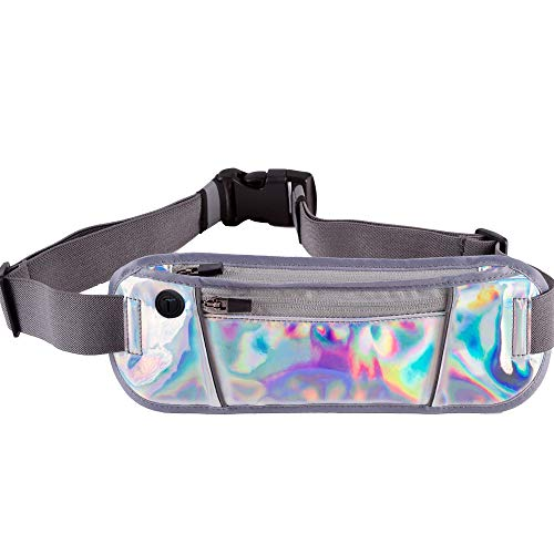 Vizhora Slim Fanny Pack - Cute Holographic Waist Pack for Women, Men - Adjustable Plus Size Water Resistant Small Travel Running Festival Rave Belt Bag - Fits All Phones iPhone Samsung