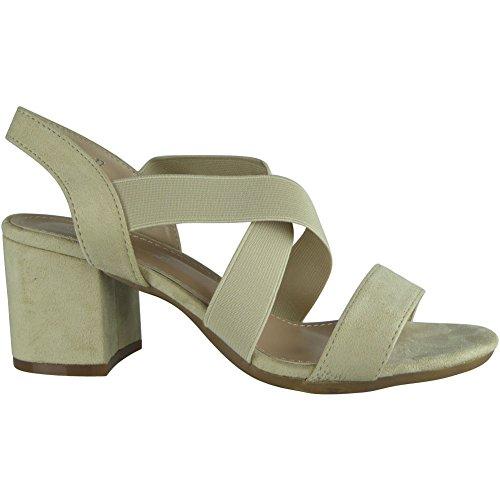 Moulantes Chaussures Taille Les Mi En Daim Crème Talon Sandales Faux 8 3 Nouvelles Dames Femmes Élastique Partie qqOPw7C