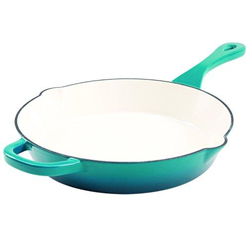 Crock Pot 111988.01 Artisan 12 Inch Enameled Cast Iron Round Skillet, Teal Ombre (Set Pan Frying Enameled)
