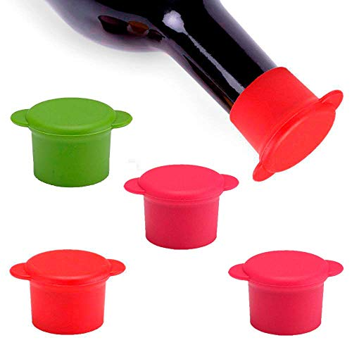 Vitrix Kitchenware Bottle Caps-Set of 5 Reusable and Unbreakable Sealer Covers-Silicone Stoppers to Keep Wine or Beer Fresh for Days with Air Tight Seal, Maroon, Brown, Blue, Yellow, Green