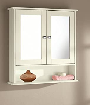High Quality Double Door Bathroom Mirror Cabinets White, Cream, OAK (CREAM)