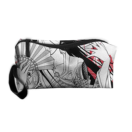 King Fong Japanese Geisha Makeup Bag for Men/Women, Travel Toiletry Bag, Oxford Pencil Case