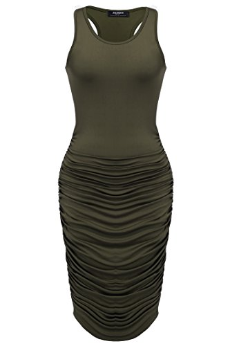 Cinched Tank Dress - Zeagoo Women's Summer Sexy Sleeveless Sundress Fold Bodycon Tank Dress,Army Green,Small