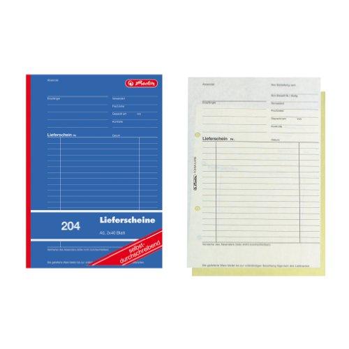 Herlitz 1932839 Lieferschein-Buch A5 204 2x40 Blatt, selbstdurchschreibend, 4er Packung